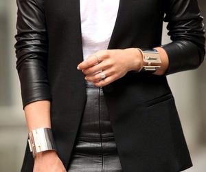 black, blazer, and white top image