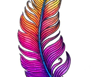 colorful, drawing, and feather image