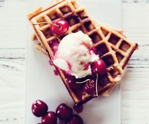 food, cherry, and waffles image