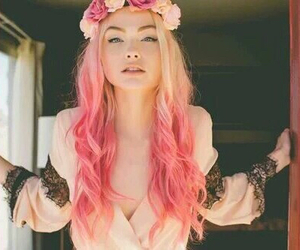 blonde, dyed hair, and flower crown image