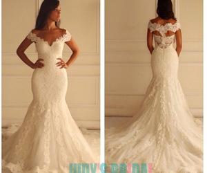 lace, wedding dress, and mermaid image