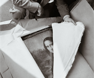 mona lisa, art, and black and white image