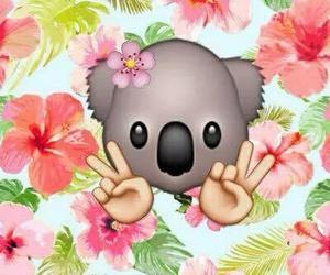 Koala, flowers, and emoji image