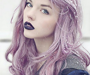 hair, purple, and snow image