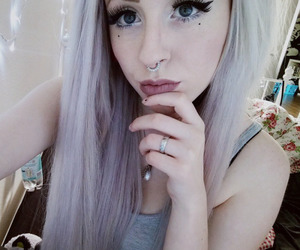 color hair, girl, and grey hair image