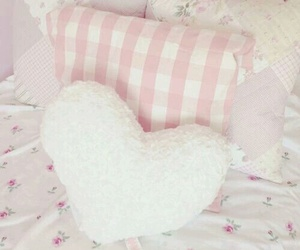 pillow, pink, and bedroom image