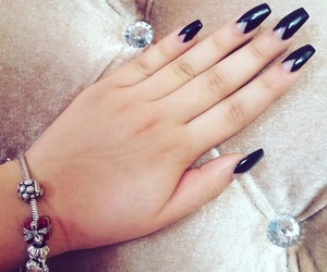 black nails, charm, and pandora image