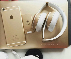 apple, gold, and headphones image