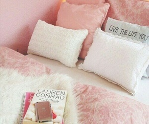 pink, bed, and girly image