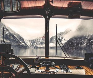 boat, travel, and mountains image