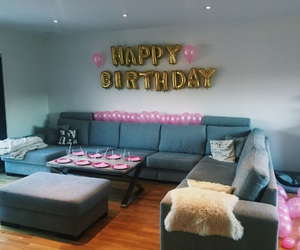 balloons, birthday, and gold image