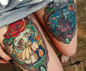 disney, Tattoos, and thebeautyandthebeast image