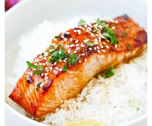 food, recipe, and salmon image