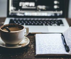 coffee, book, and notebook image