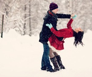 boy, girl, and snow image