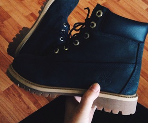 blue, timberlands, and boots image