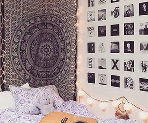 bedroom, guitar, and mandala image