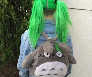 hair, green, and totoro image