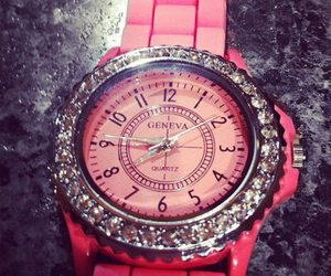 pink, watch, and geneva image
