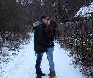 kiss, Relationship, and snow image