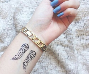 tattoo, nails, and angel image