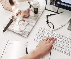 white, computer, and glasses image