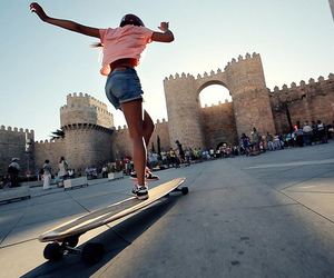girl, longboard, and skate image