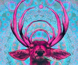 deer, smoke, and pink image