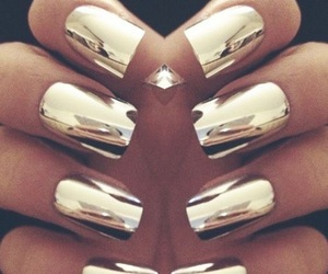 gold, metallic, and nails image