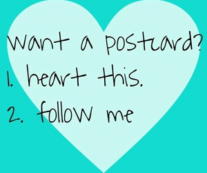follow, heart, and postcard image