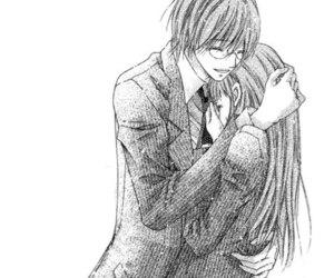 anime, black and white, and hug image