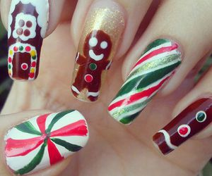 gingerbread, house, and nail art image