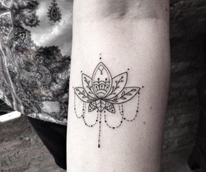 girl, peace, and tattoo image