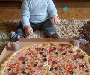 baby, pizza, and boy image