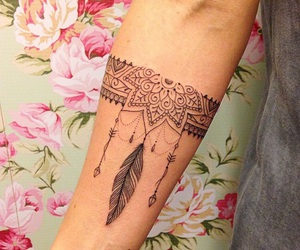 girl, peace, and tattoo image