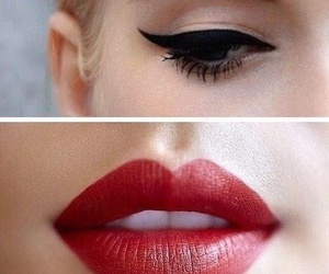 eyeliner, red lips, and red lipstick image
