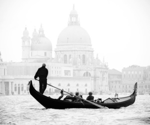 venice, black and white, and italy image