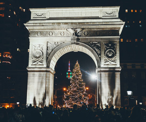 christmas tree, street, and city image