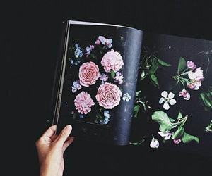 flowers, book, and black image