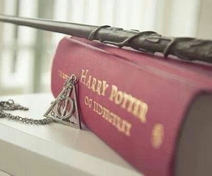 book, deathly hallows, and magic wand image