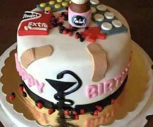birthday, cake, and medicine image