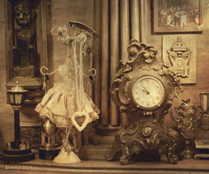 aged, clock, and dress image