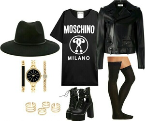black, Moschino, and Polyvore image