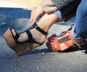 fashion, wedges, and black wedges image