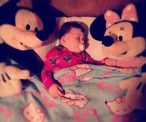baby boy, mickey mouse, and minnie mouse image