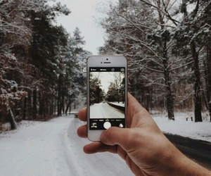 iphone, snow, and winter image