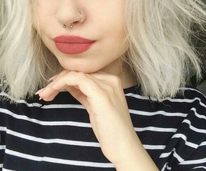 girl, piercing, and lips image