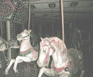 carousel, grunge, and horse image