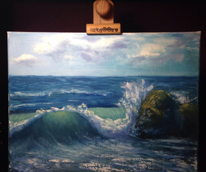 artist, canvas, and oil image