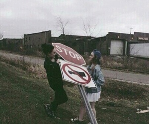 grunge, girl, and stop image